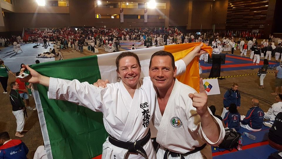 Yvonne Cashman won Gold in Kata and Silver in Kumite at the 12th SKIF World Championships in Jakarta Indonesia in August 2016